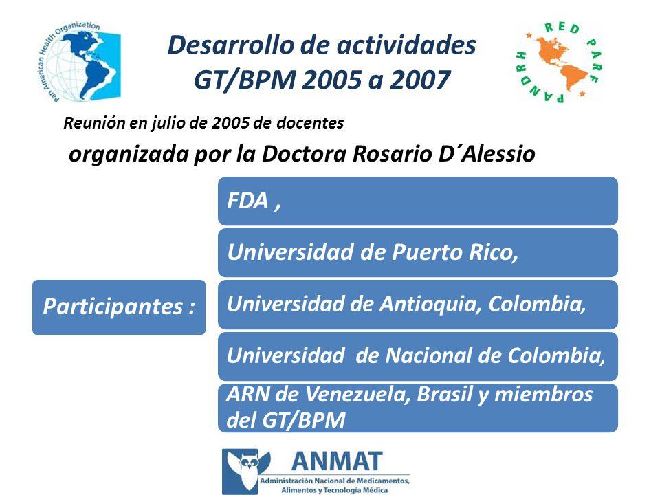 Desarrollo de actividades GT/BPM 2005 a 2007 FDA,Universidad de Puerto Rico, Universidad de Antioquia, Colombia, Universidad de Nacional de Colombia,