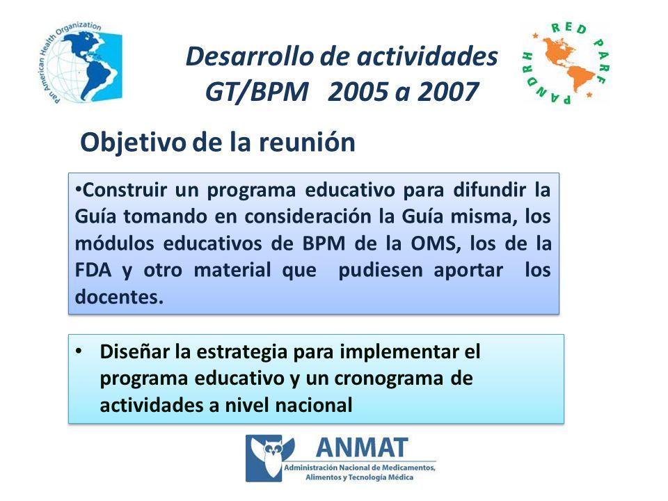 Diseñar la estrategia para implementar el programa educativo y un cronograma de actividades a nivel nacional Desarrollo de actividades GT/BPM 2005 a 2