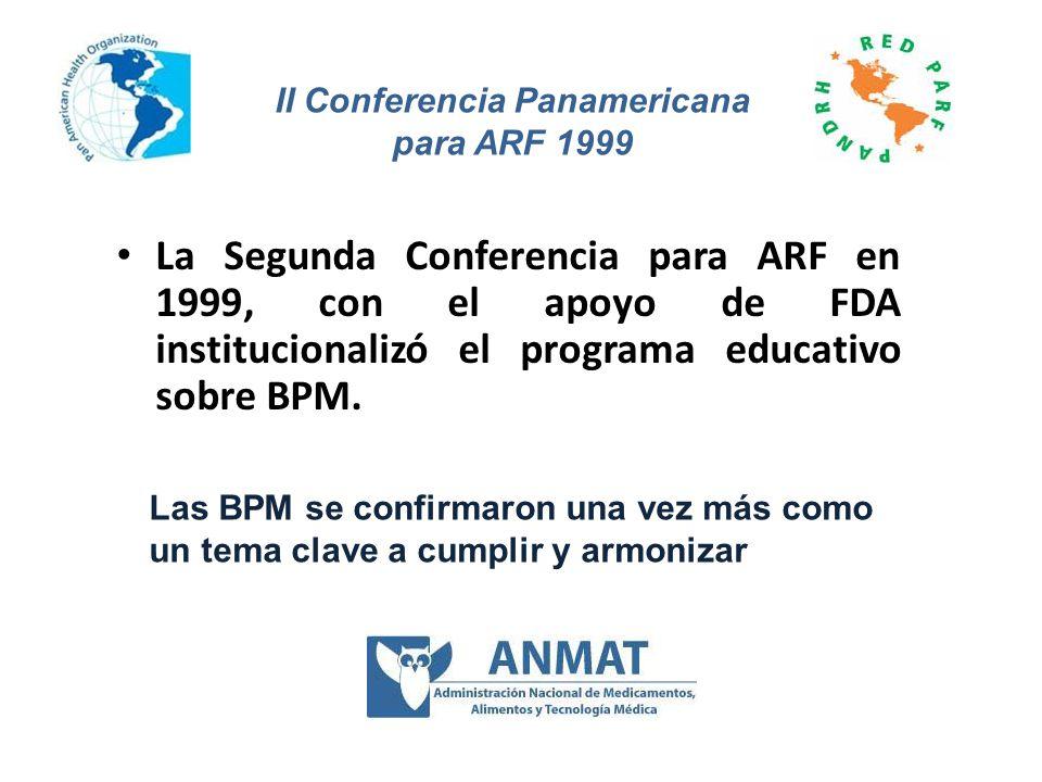 La Segunda Conferencia para ARF en 1999, con el apoyo de FDA institucionalizó el programa educativo sobre BPM. Las BPM se confirmaron una vez más como