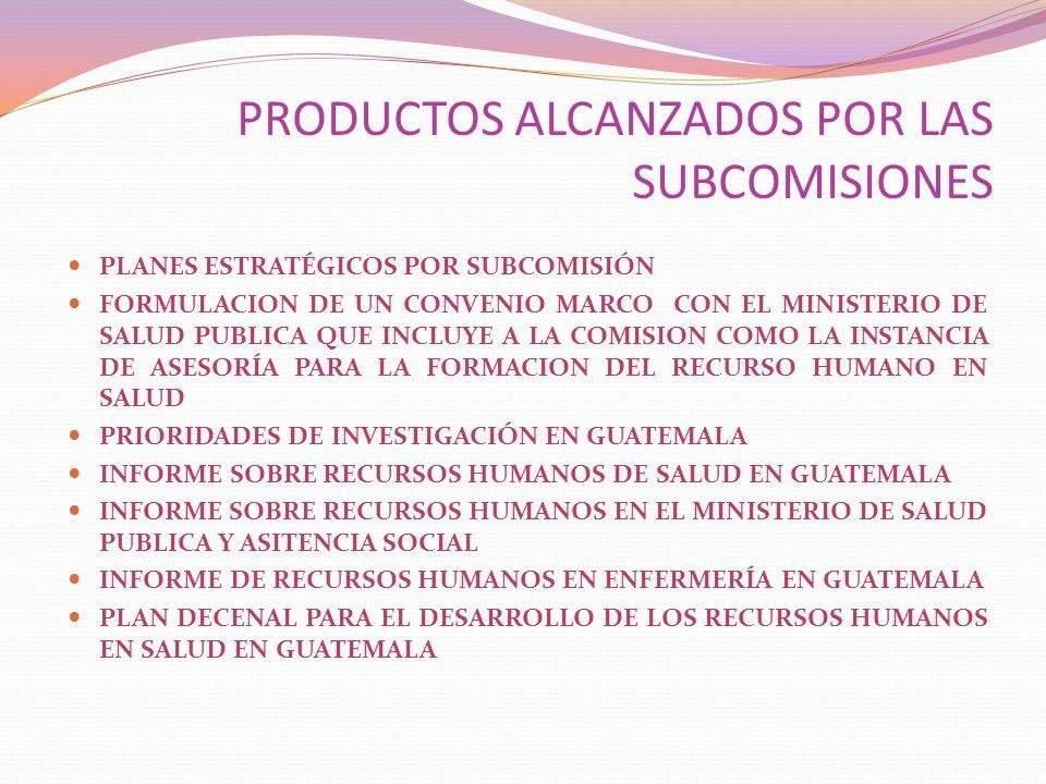 PRODUCTOS ALCANZADOS POR LAS SUBCOMISIONES PLANES ESTRATÉGICOS POR SUBCOMISIÓN FORMULACION DE UN CONVENIO MARCO CON EL MINISTERIO DE SALUD PUBLICA QUE