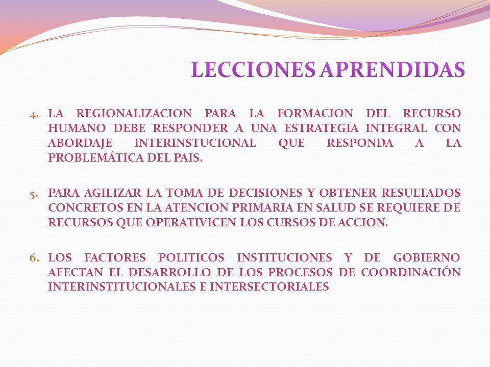 4. LA REGIONALIZACION PARA LA FORMACION DEL RECURSO HUMANO DEBE RESPONDER A UNA ESTRATEGIA INTEGRAL CON ABORDAJE INTERINSTUCIONAL QUE RESPONDA A LA PR