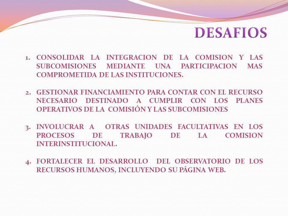 1.CONSOLIDAR LA INTEGRACION DE LA COMISION Y LAS SUBCOMISIONES MEDIANTE UNA PARTICIPACION MAS COMPROMETIDA DE LAS INSTITUCIONES. 2.GESTIONAR FINANCIAM