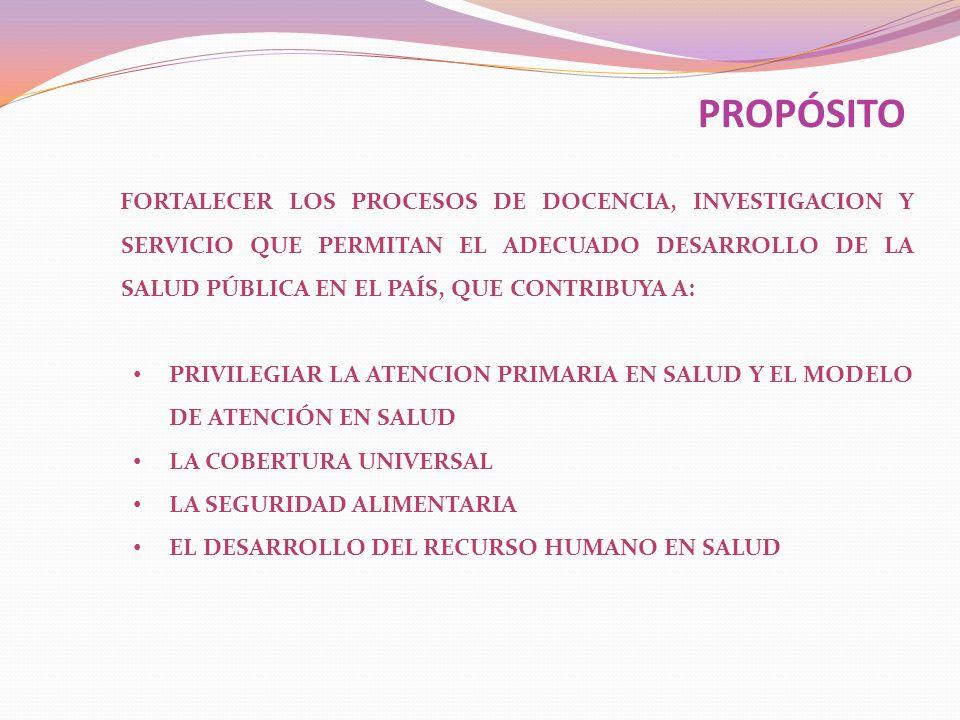 FORTALECER LOS PROCESOS DE DOCENCIA, INVESTIGACION Y SERVICIO QUE PERMITAN EL ADECUADO DESARROLLO DE LA SALUD PÚBLICA EN EL PAÍS, QUE CONTRIBUYA A: PR