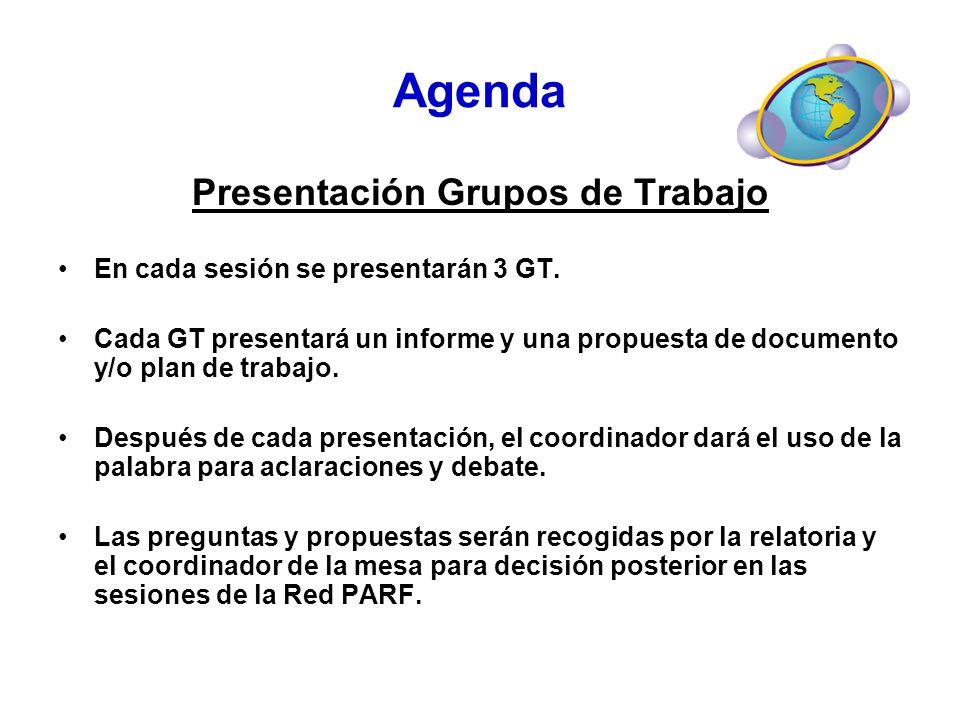 Presentación Grupos de Trabajo En cada sesión se presentarán 3 GT. Cada GT presentará un informe y una propuesta de documento y/o plan de trabajo. Des