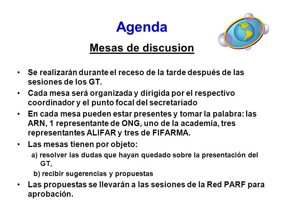 Agenda Mesas de discusion Se realizarán durante el receso de la tarde después de las sesiones de los GT. Cada mesa será organizada y dirigida por el r