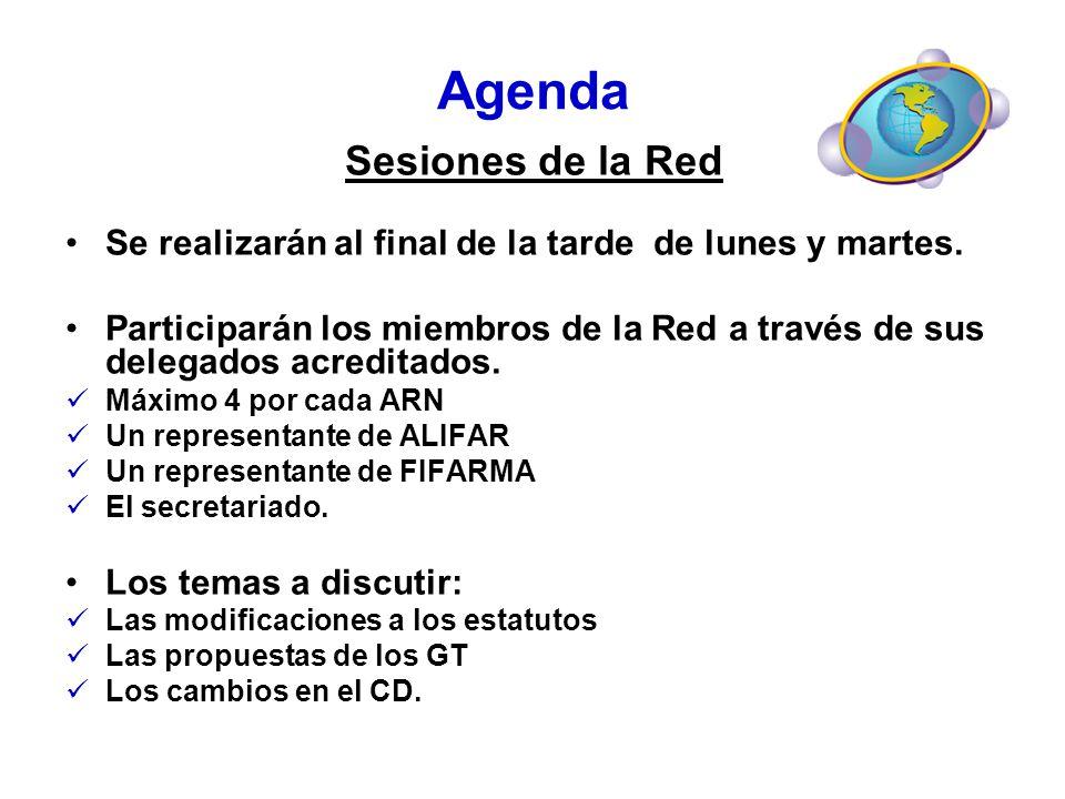 Agenda Sesiones de la Red Se realizarán al final de la tarde de lunes y martes. Participarán los miembros de la Red a través de sus delegados acredita