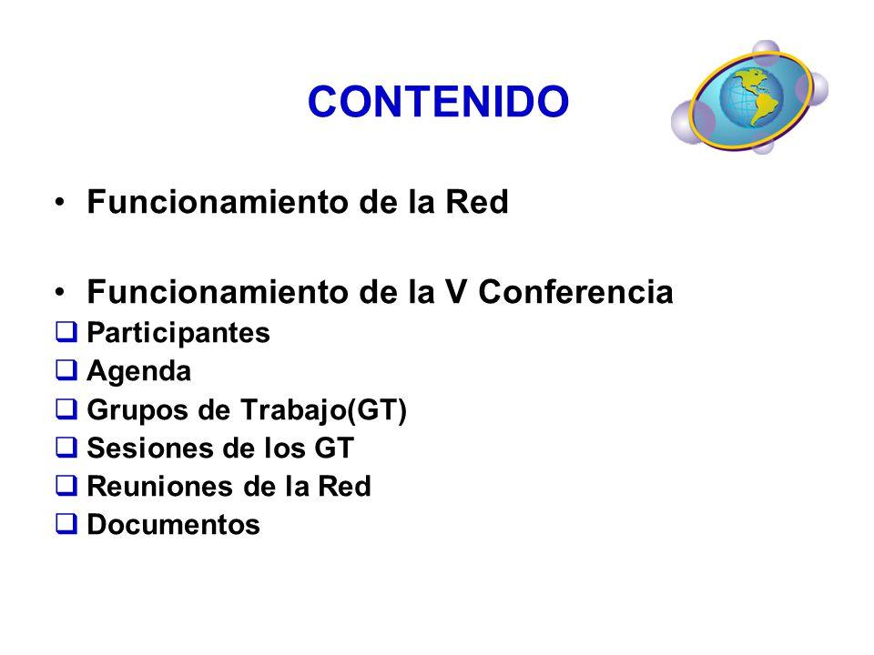 CONTENIDO Funcionamiento de la Red Funcionamiento de la V Conferencia Participantes Agenda Grupos de Trabajo(GT) Sesiones de los GT Reuniones de la Re