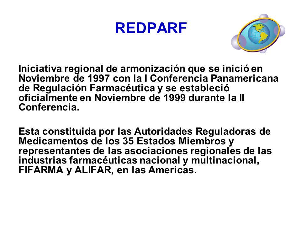 REDPARF Iniciativa regional de armonización que se inició en Noviembre de 1997 con la I Conferencia Panamericana de Regulación Farmacéutica y se estab