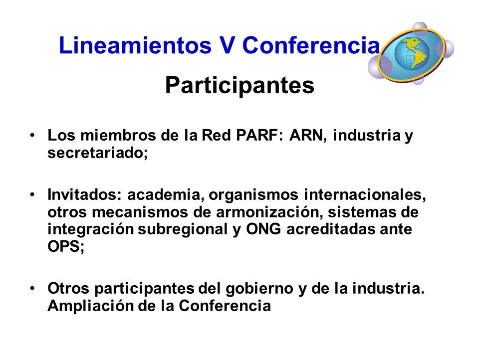Lineamientos V Conferencia Participantes Los miembros de la Red PARF: ARN, industria y secretariado; Invitados: academia, organismos internacionales,