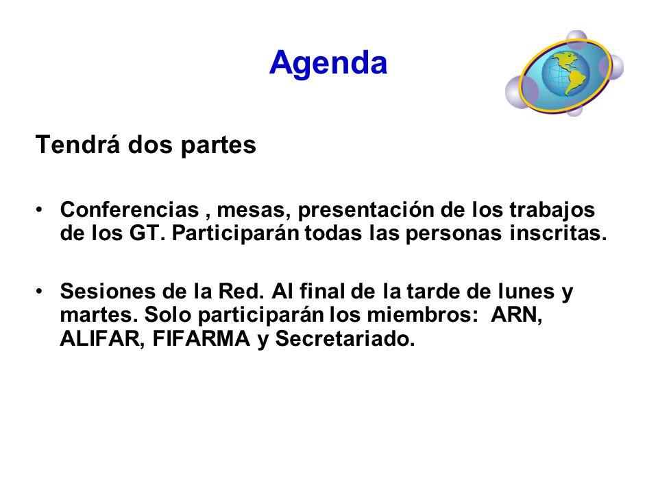 Agenda Tendrá dos partes Conferencias, mesas, presentación de los trabajos de los GT. Participarán todas las personas inscritas. Sesiones de la Red. A