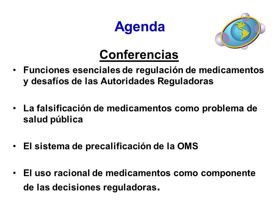 Agenda Conferencias Funciones esenciales de regulación de medicamentos y desafíos de las Autoridades Reguladoras La falsificación de medicamentos como