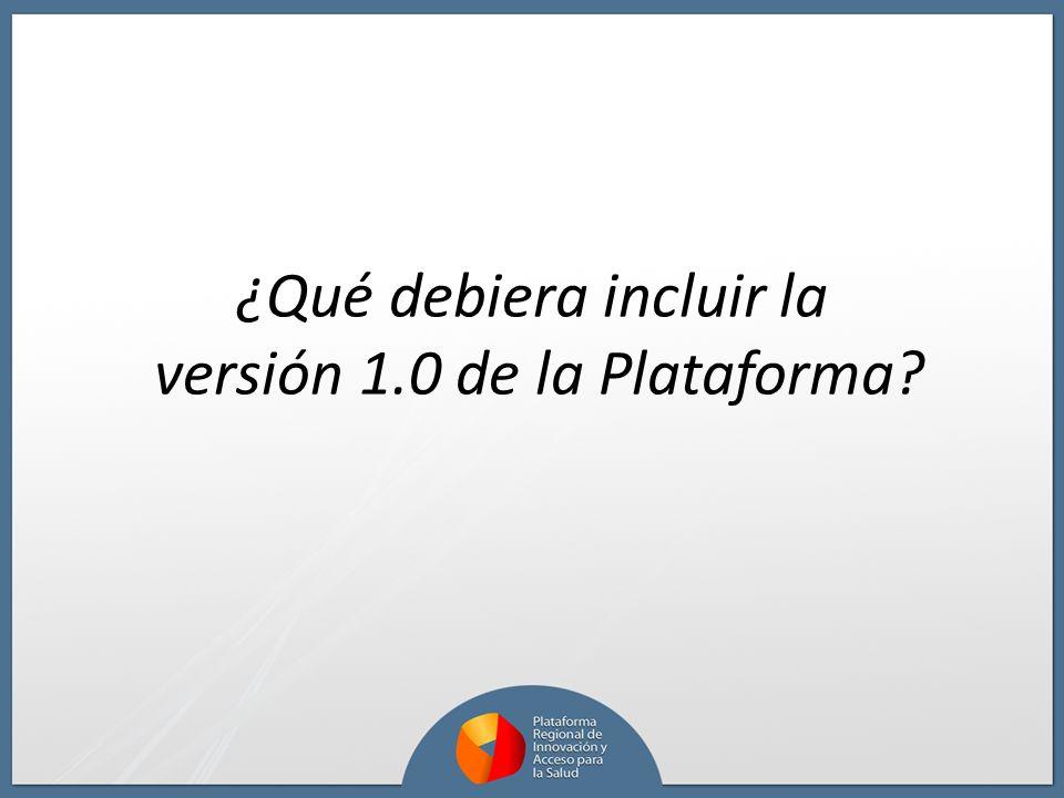 ¿Qué debiera incluir la versión 1.0 de la Plataforma?