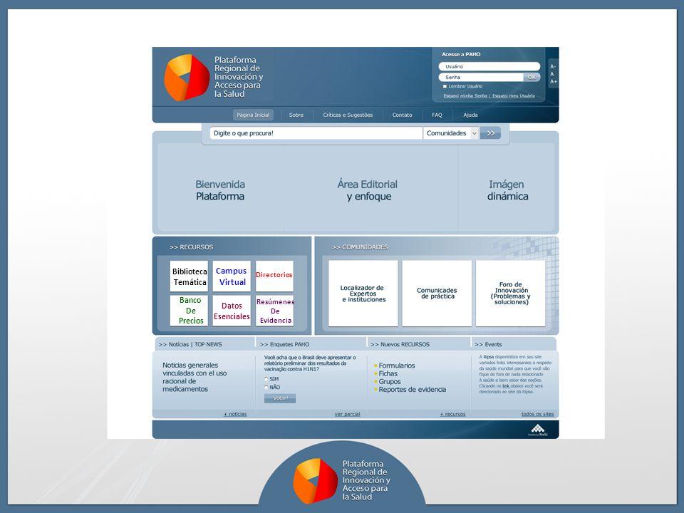 Datos Esenciales Campus Virtual Biblioteca Temática Directorios Resúmenes De Evidencia Banco De Precios