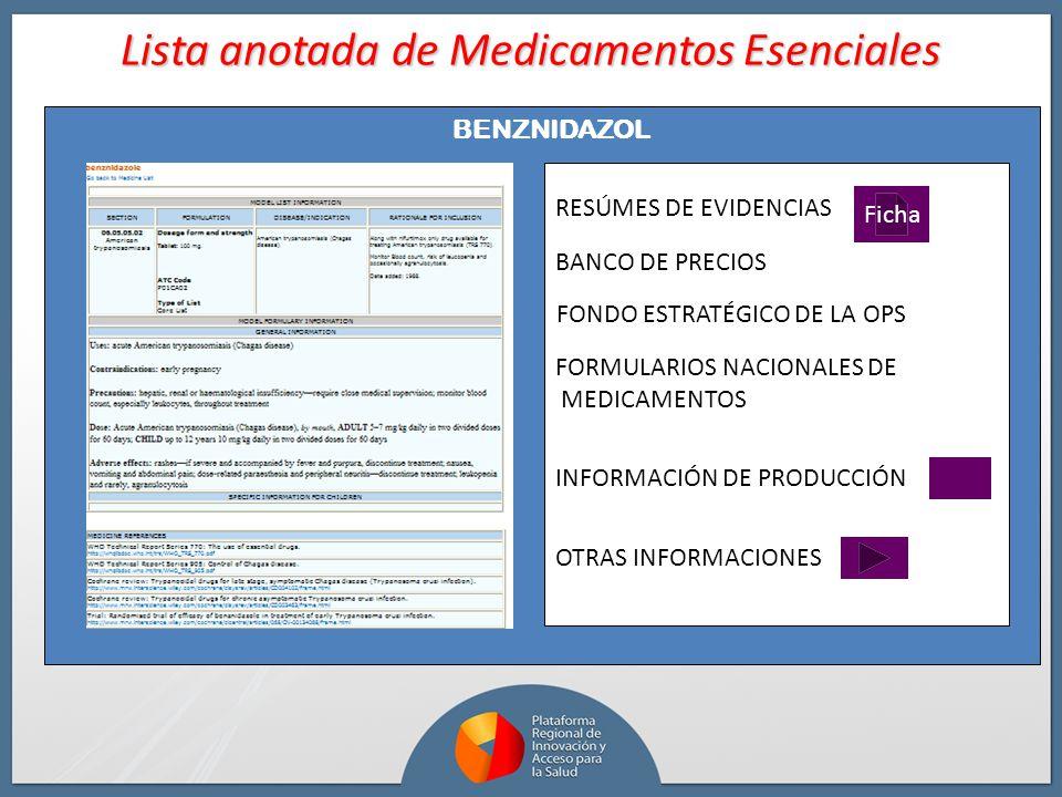 Ficha RESÚMES DE EVIDENCIAS BANCO DE PRECIOS FORMULARIOS NACIONALES DE MEDICAMENTOS OTRAS INFORMACIONES INFORMACIÓN DE PRODUCCIÓN Lista anotada de Med