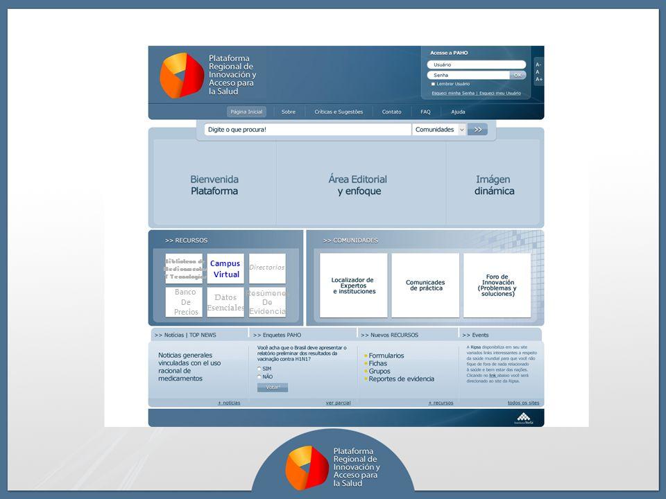 Datos Esenciales Campus Virtual Biblioteca de Medicamentos Y Tecnologías Directorios Resúmenes De Evidencia Banco De Precios