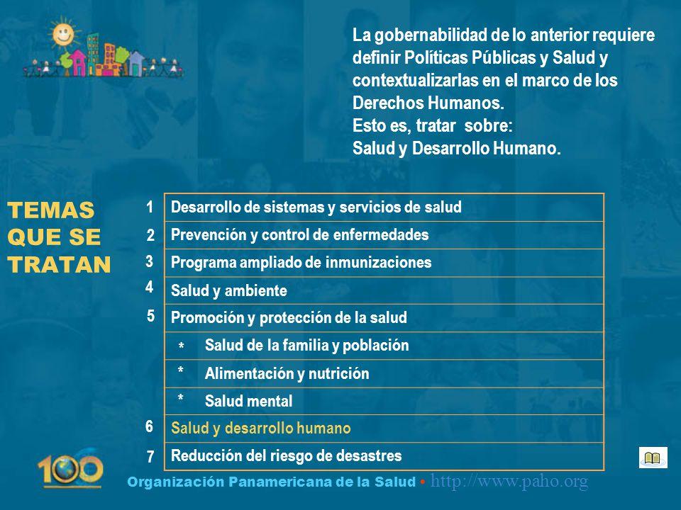 Organización Panamericana de la Salud http://www.paho.org TEMAS QUE SE TRATAN Desarrollo de sistemas y servicios de salud Prevención y control de enfe