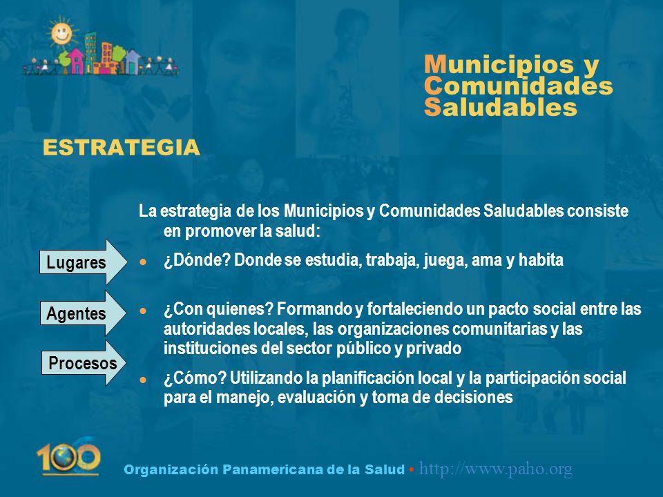 Organización Panamericana de la Salud http://www.paho.org Municipios y Comunidades Saludables l Participación Comunitaria l Comunicación l Formación de Habilidades y Capacidades l Vigilancia y Evaluación COMPONENTES COMUNES