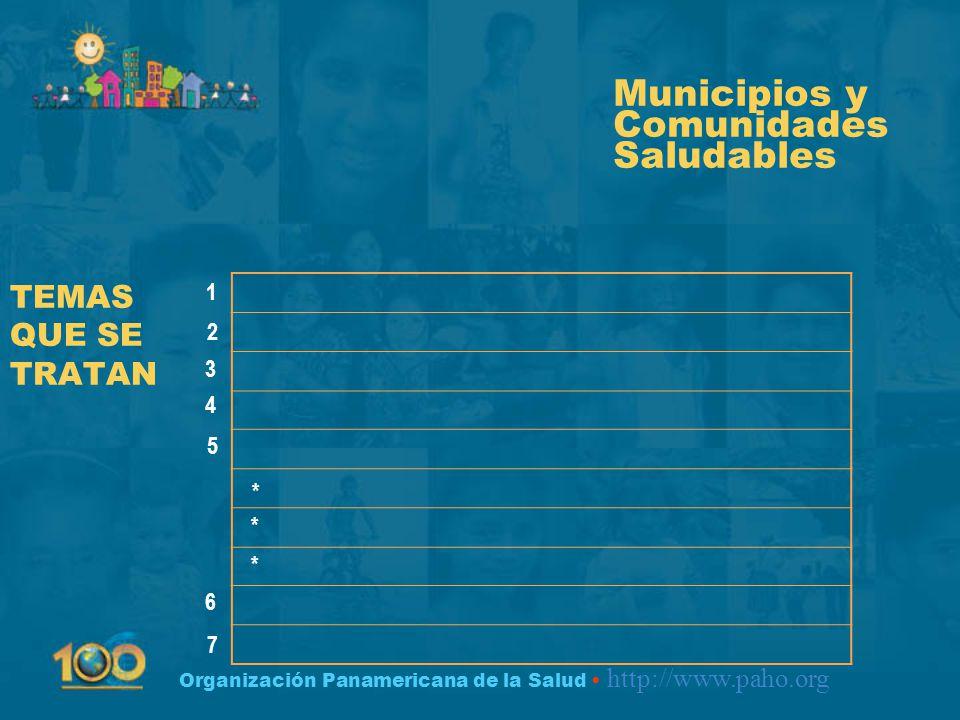 Organización Panamericana de la Salud http://www.paho.org TEMAS QUE SE TRATAN Municipios y Comunidades Saludables 1 2 3 4 5 6 7 * * *