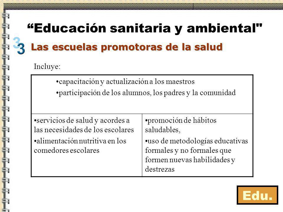 Edu. Las escuelas promotoras de la salud Educación sanitaria y ambiental