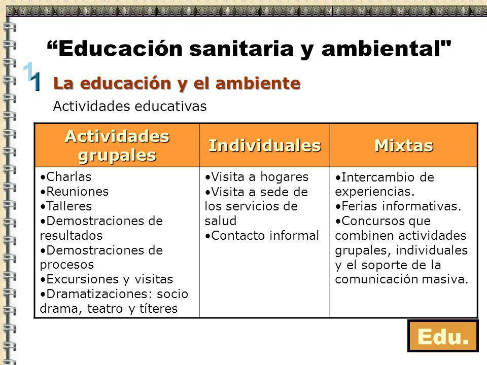 Edu. Actividades educativas Educación sanitaria y ambiental