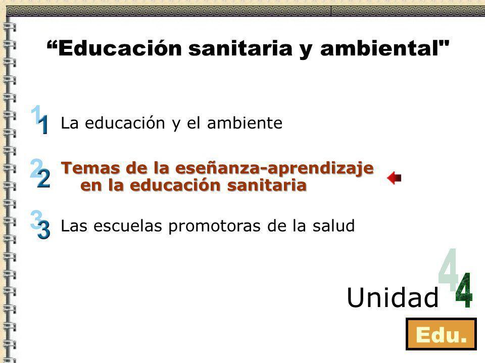Edu. La educación y el ambiente Las escuelas promotoras de la salud Temas de la enseñanza-aprendizaje en la educación sanitaria Unidad Educación sanit
