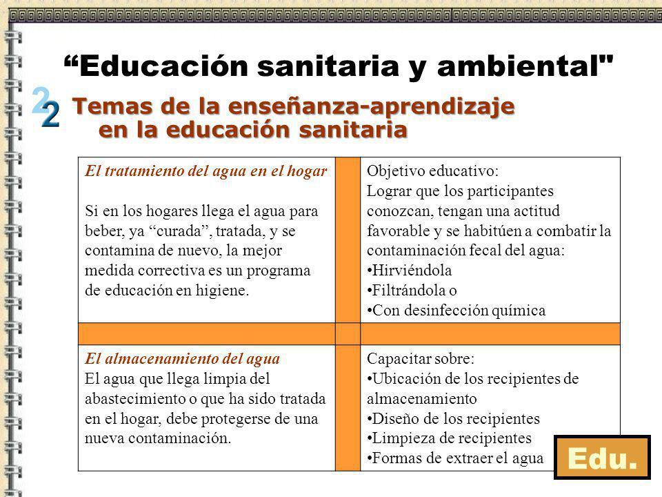 Temas de la enseñanza-aprendizaje en la educación sanitaria Educación sanitaria y ambiental