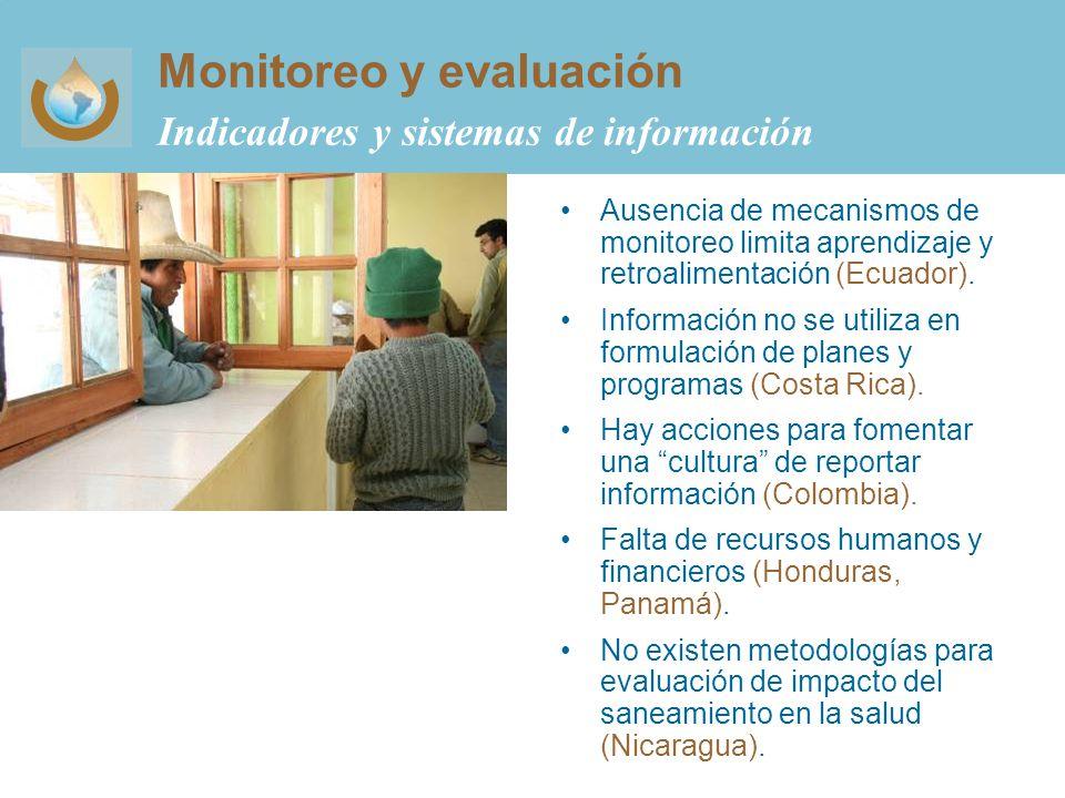 Monitoreo y evaluación Indicadores y sistemas de información Ausencia de mecanismos de monitoreo limita aprendizaje y retroalimentación (Ecuador).
