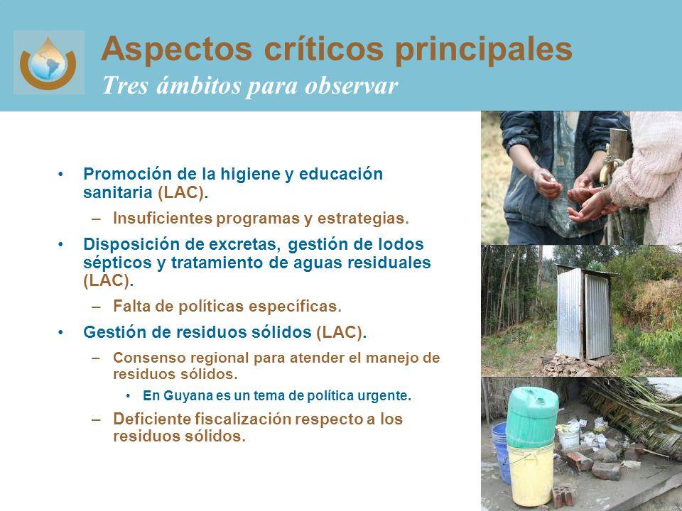 Aspectos críticos principales Tres ámbitos para observar Promoción de la higiene y educación sanitaria (LAC).
