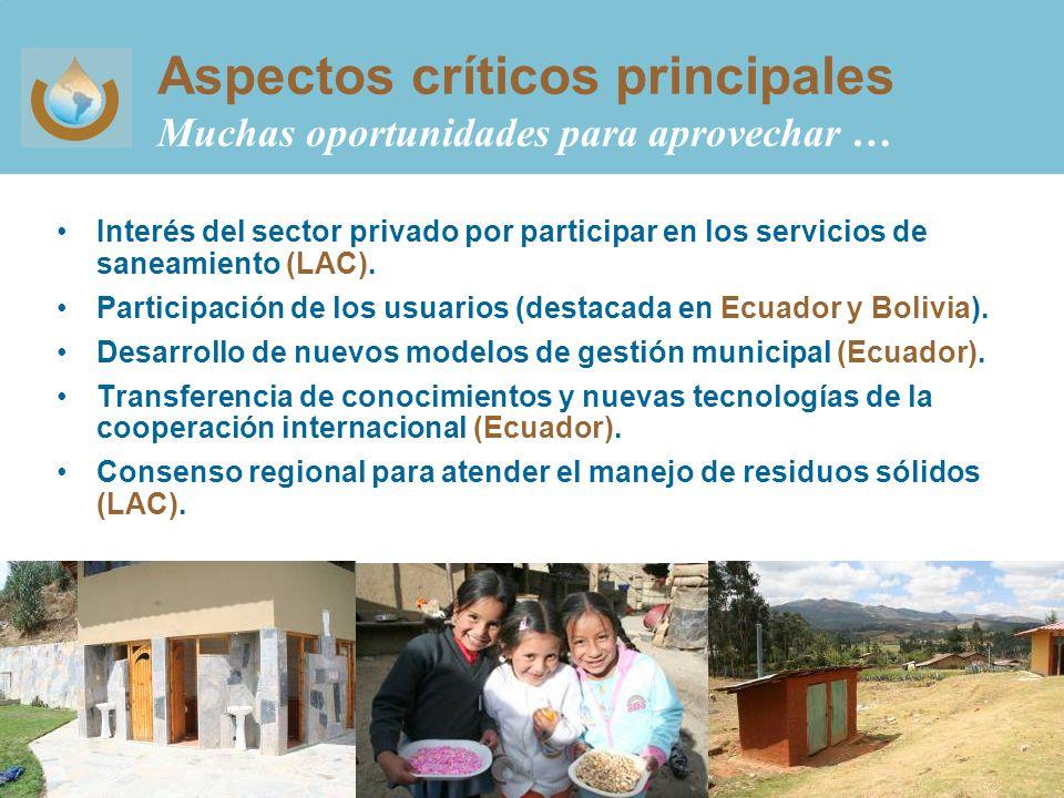 Aspectos críticos principales Muchas oportunidades para aprovechar … Interés del sector privado por participar en los servicios de saneamiento (LAC).