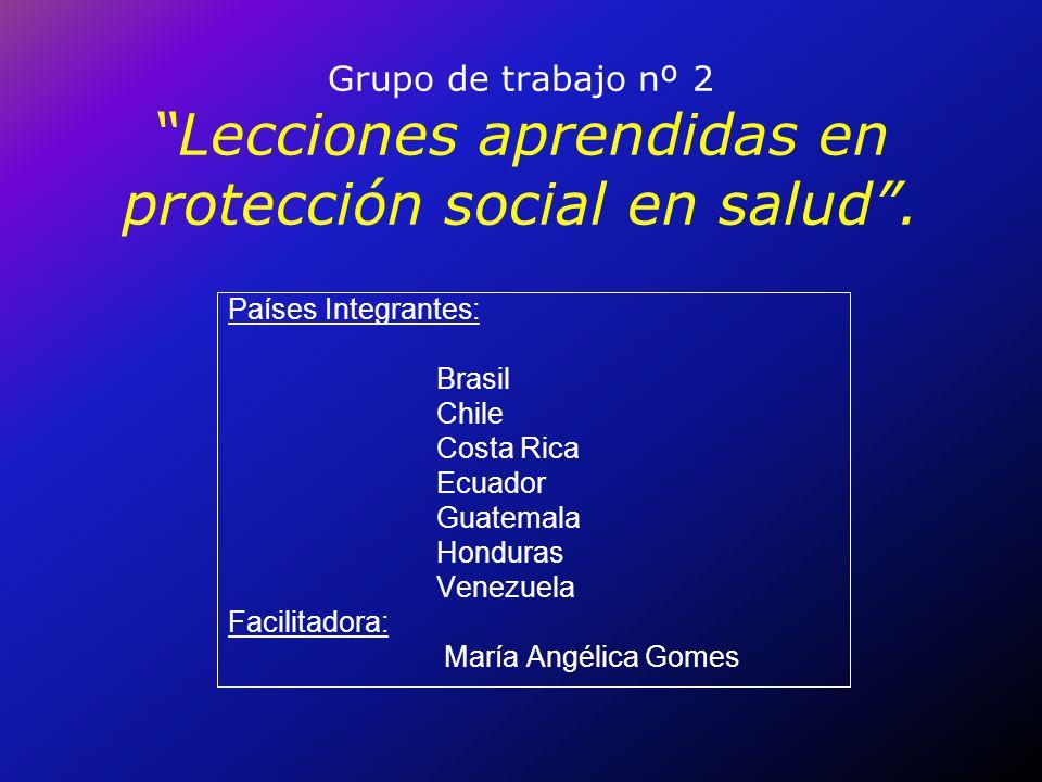 Grupo de trabajo nº 2 Lecciones aprendidas en protección social en salud. Países Integrantes: Brasil Chile Costa Rica Ecuador Guatemala Honduras Venez