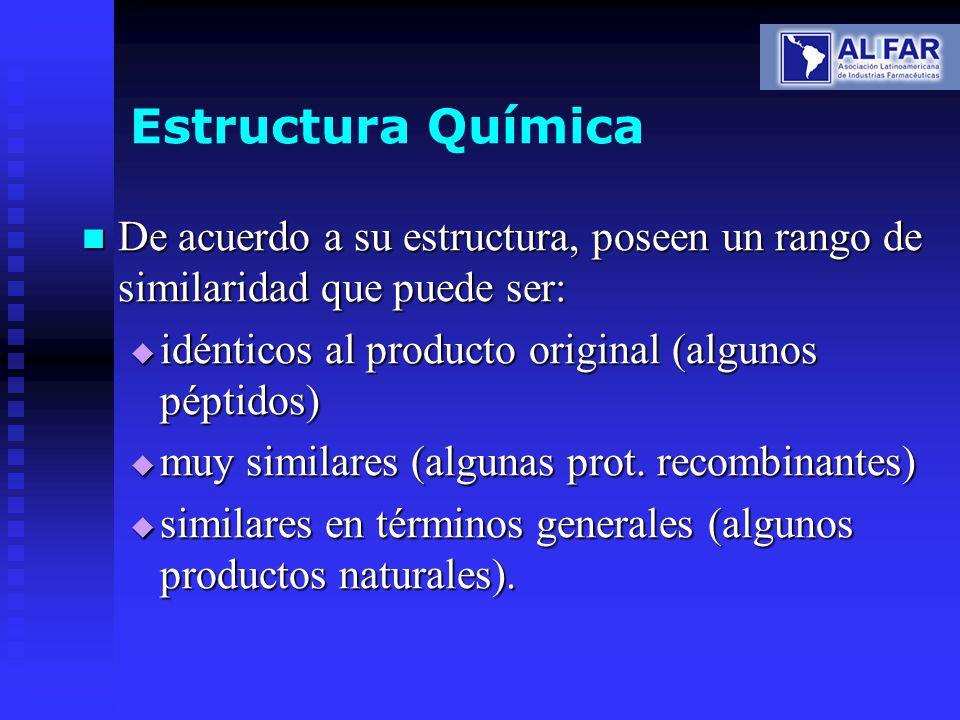 Estructura Química De acuerdo a su estructura, poseen un rango de similaridad que puede ser: De acuerdo a su estructura, poseen un rango de similarida