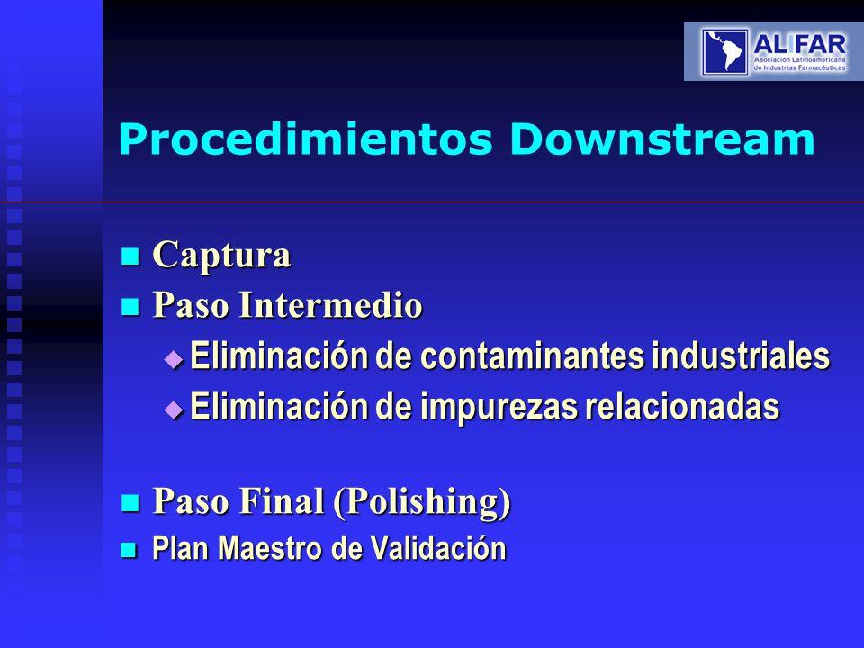 Procedimientos Downstream Captura Captura Paso Intermedio Paso Intermedio Eliminación de contaminantes industriales Eliminación de contaminantes indus