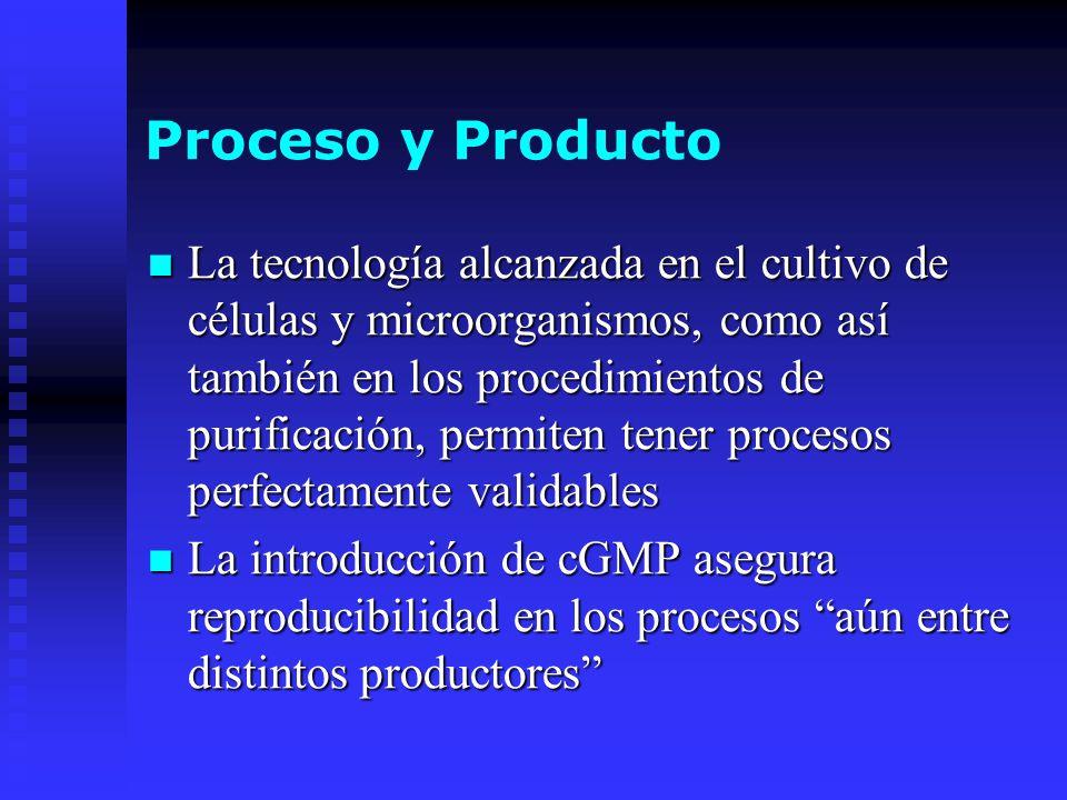Proceso y Producto La tecnología alcanzada en el cultivo de células y microorganismos, como así también en los procedimientos de purificación, permite