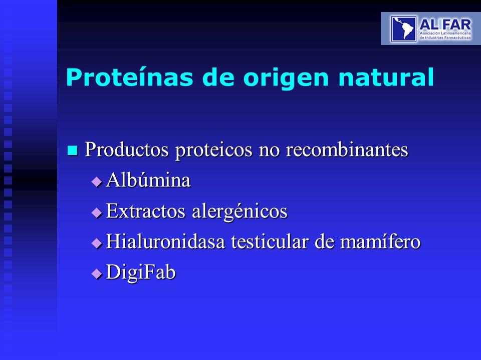 Proteínas de origen natural Productos proteicos no recombinantes Productos proteicos no recombinantes Albúmina Albúmina Extractos alergénicos Extracto