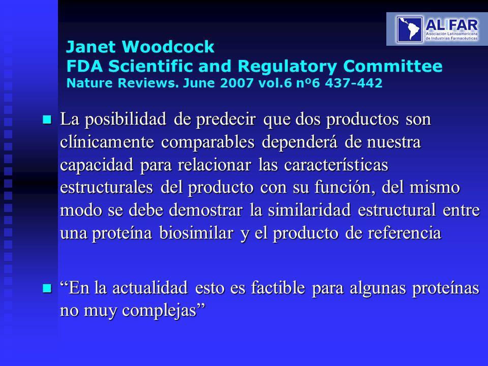 Janet Woodcock FDA Scientific and Regulatory Committee Nature Reviews. June 2007 vol.6 nº6 437-442 La posibilidad de predecir que dos productos son cl