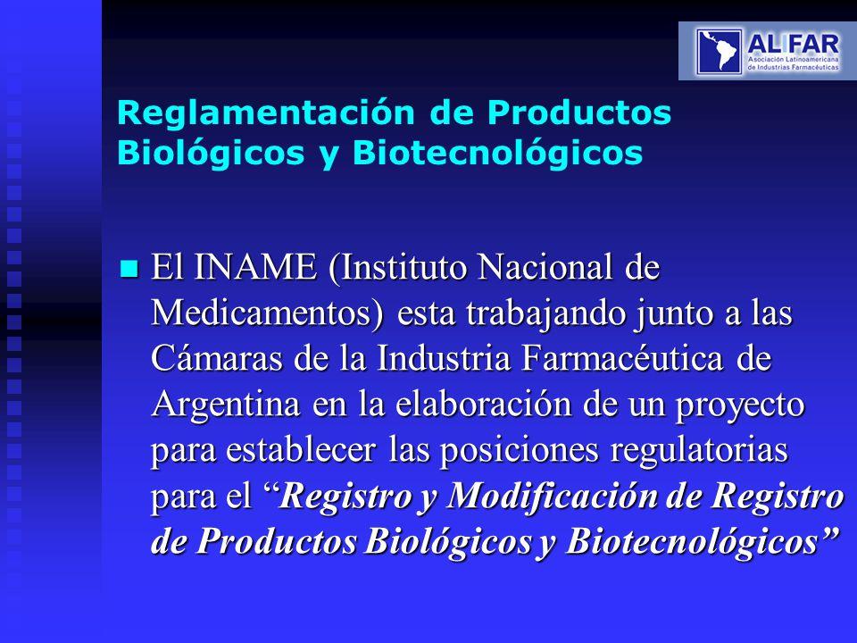 Reglamentación de Productos Biológicos y Biotecnológicos El INAME (Instituto Nacional de Medicamentos) esta trabajando junto a las Cámaras de la Indus