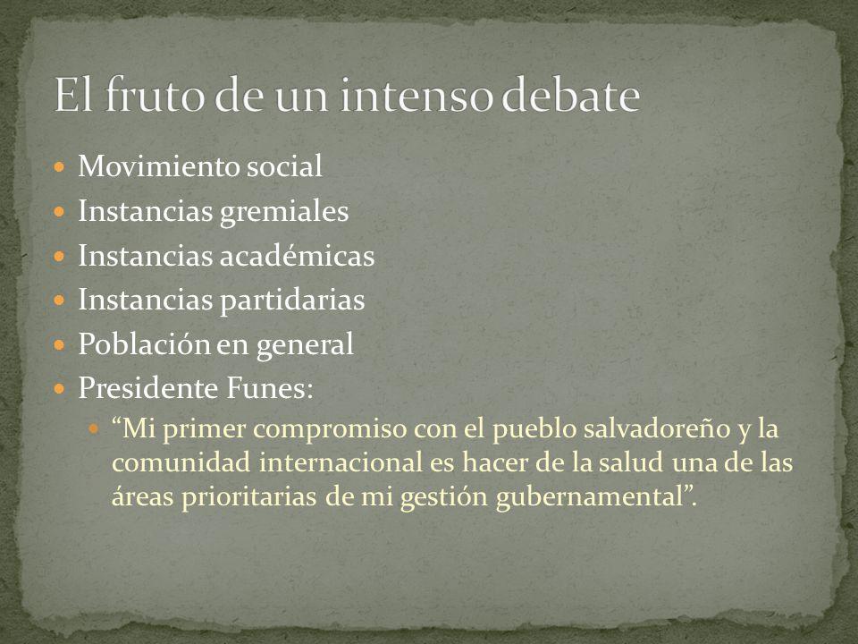 Movimiento social Instancias gremiales Instancias académicas Instancias partidarias Población en general Presidente Funes: Mi primer compromiso con el
