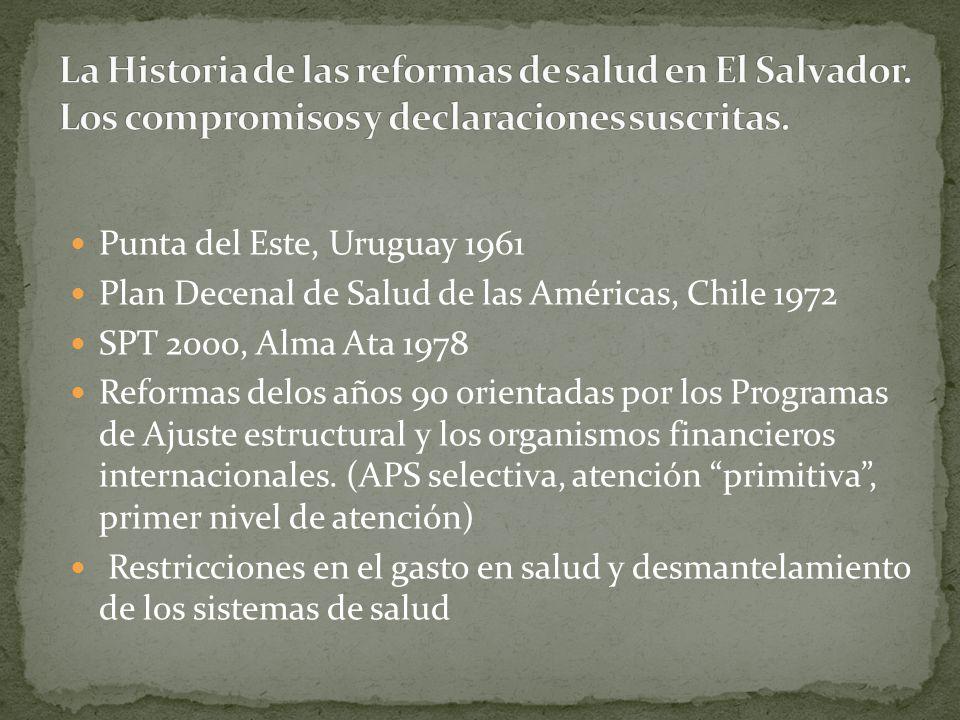 Punta del Este, Uruguay 1961 Plan Decenal de Salud de las Américas, Chile 1972 SPT 2000, Alma Ata 1978 Reformas delos años 90 orientadas por los Progr