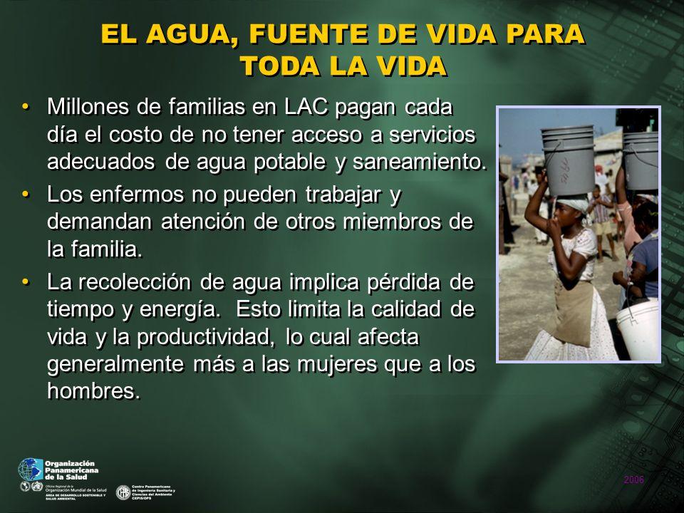 2006 EL AGUA, FUENTE DE VIDA PARA TODA LA VIDA Millones de familias en LAC pagan cada día el costo de no tener acceso a servicios adecuados de agua potable y saneamiento.