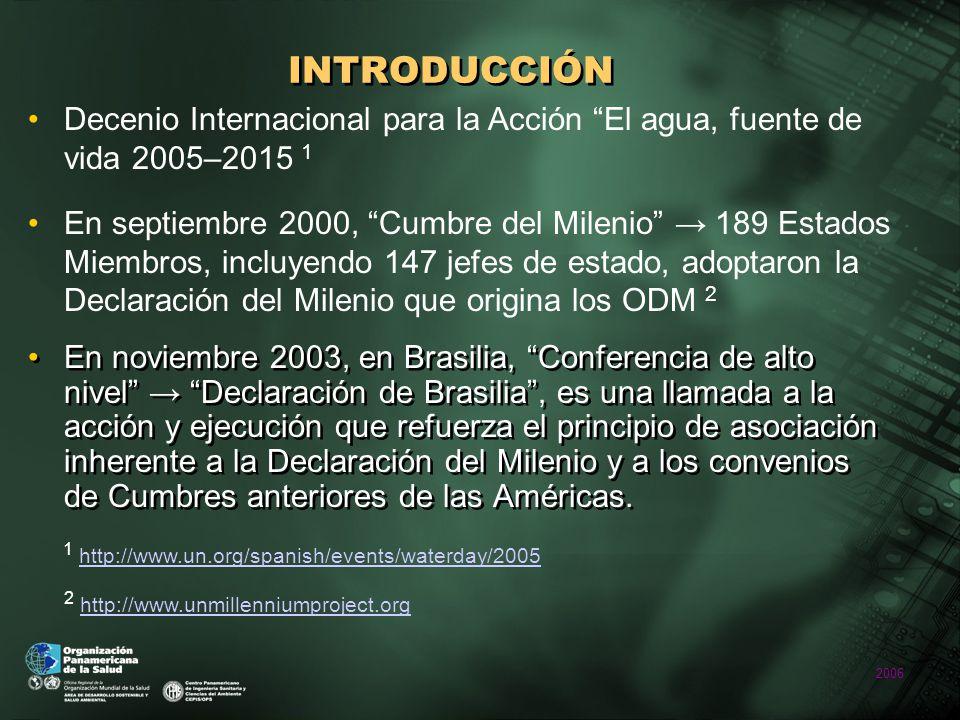 2006 1.Erradicar la pobreza extrema y el hambre.