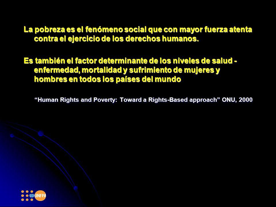 La pobreza es el fenómeno social que con mayor fuerza atenta contra el ejercicio de los derechos humanos.