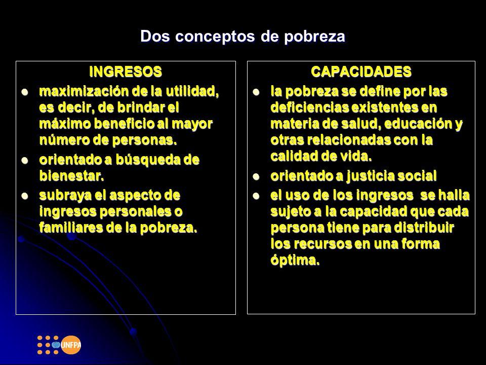Dos conceptos de pobreza INGRESOS maximización de la utilidad, es decir, de brindar el máximo beneficio al mayor número de personas.