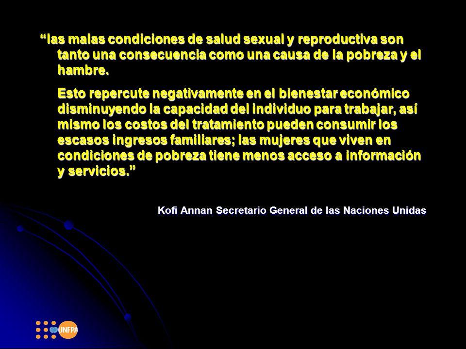 las malas condiciones de salud sexual y reproductiva son tanto una consecuencia como una causa de la pobreza y el hambre.las malas condiciones de salud sexual y reproductiva son tanto una consecuencia como una causa de la pobreza y el hambre.