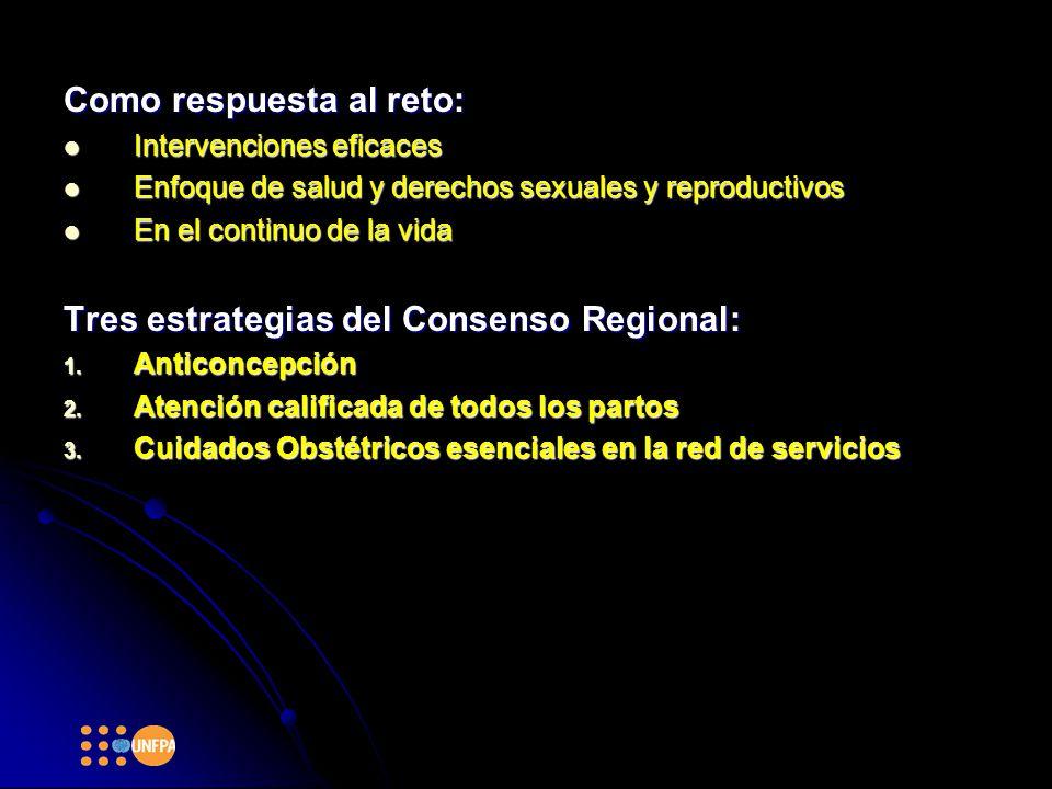 Como respuesta al reto: Intervenciones eficaces Intervenciones eficaces Enfoque de salud y derechos sexuales y reproductivos Enfoque de salud y derechos sexuales y reproductivos En el continuo de la vida En el continuo de la vida Tres estrategias del Consenso Regional: 1.