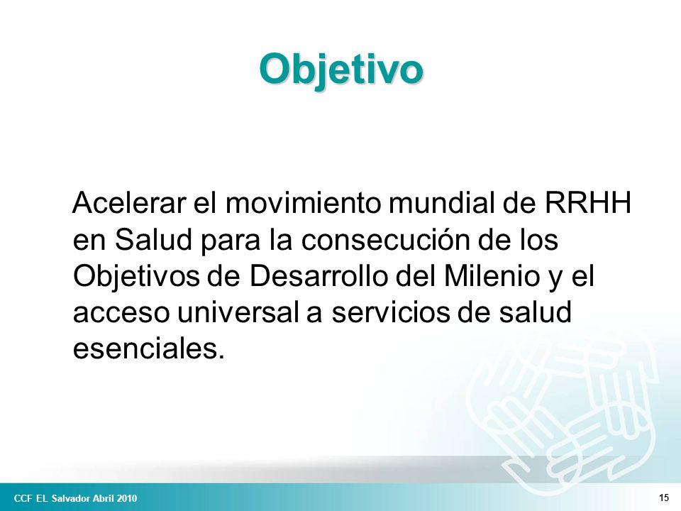 15 Objetivo Acelerar el movimiento mundial de RRHH en Salud para la consecución de los Objetivos de Desarrollo del Milenio y el acceso universal a servicios de salud esenciales.