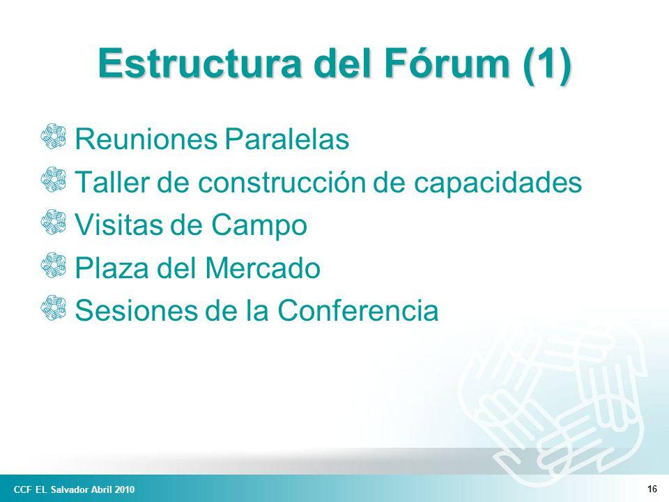 16 Estructura del Fórum (1) Reuniones Paralelas Taller de construcción de capacidades Visitas de Campo Plaza del Mercado Sesiones de la Conferencia CCF EL Salvador Abril 2010
