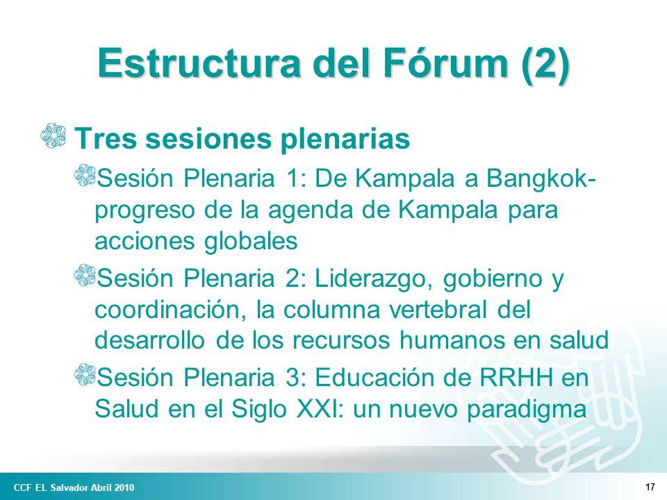 17 Estructura del Fórum (2) Tres sesiones plenarias Sesión Plenaria 1: De Kampala a Bangkok- progreso de la agenda de Kampala para acciones globales Sesión Plenaria 2: Liderazgo, gobierno y coordinación, la columna vertebral del desarrollo de los recursos humanos en salud Sesión Plenaria 3: Educación de RRHH en Salud en el Siglo XXI: un nuevo paradigma CCF EL Salvador Abril 2010