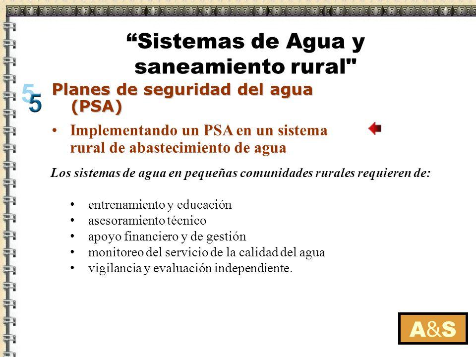 A&SA&S Planes de seguridad del agua (PSA) Implementando un PSA en un sistema rural de abastecimiento de agua Los sistemas de agua en pequeñas comunida
