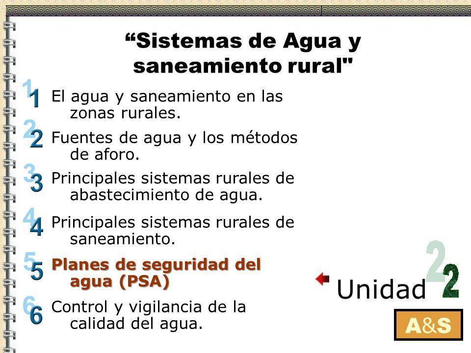ConceptoConcepto ObjetivoObjetivo Componentes de un PSA Componentes de un PSA Beneficios de un PSA Beneficios de un PSA Implementando un PSA en un sistema rural de abastecimiento de agua Implementando un PSA en un sistema rural de abastecimiento de agua A&SA&S Planes de seguridad del agua (PSA) Sistemas de Agua y saneamiento rural