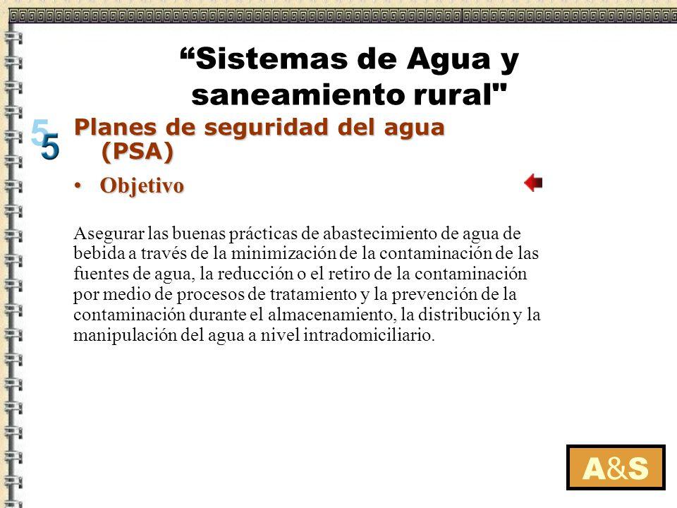 A&SA&S Planes de seguridad del agua (PSA) Componentes de un PSAComponentes de un PSA El PSA se ejecuta en función de los objetivos de salud establecidos para cada sistema.